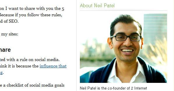 Neil Patel's sidebar