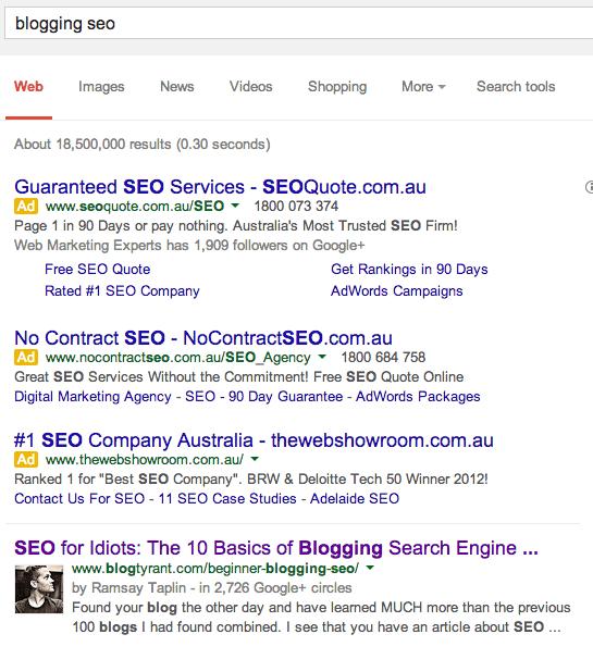 blogging seo search result