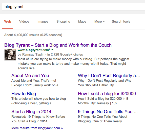Blog Tyrant google results