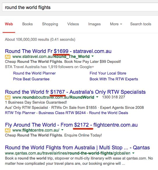 round the world flights search results